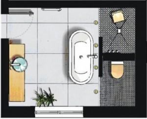 Skizze einer Badeinrichtung